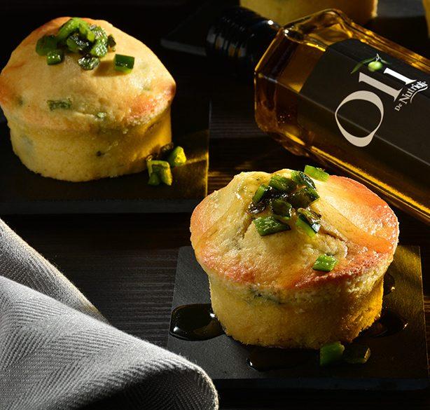 Muffins de elote con chile poblano