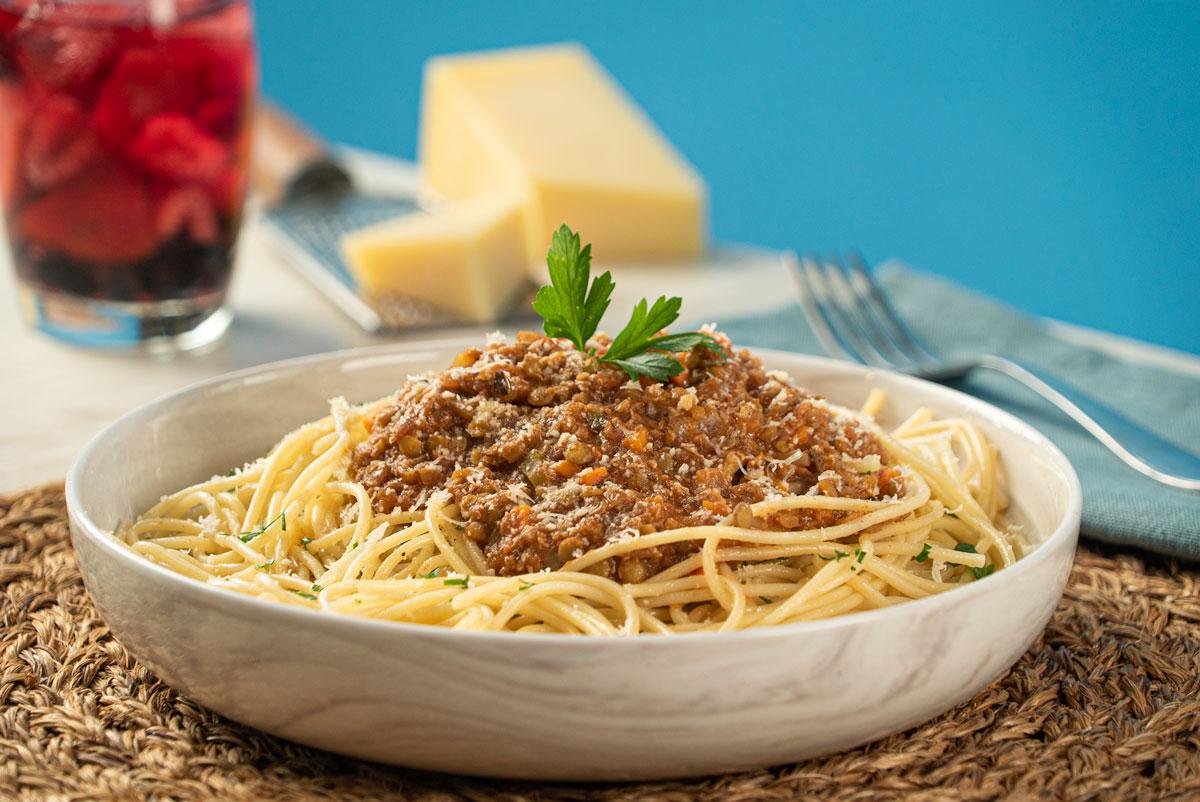 Espagueti a la boloñesa vegano